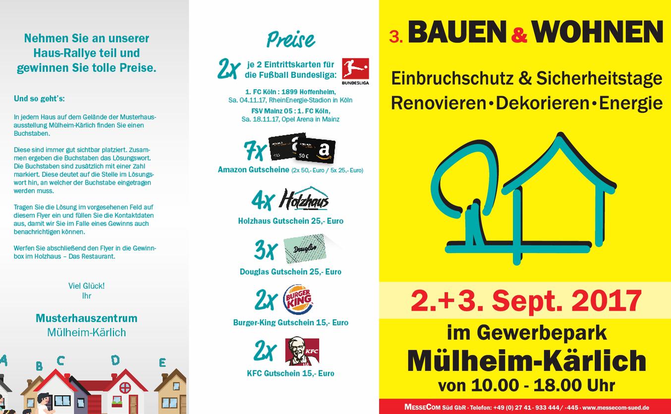 3. Bauen & Wohnen Messe am 2. + 3. September – mit großem Gewinnspiel
