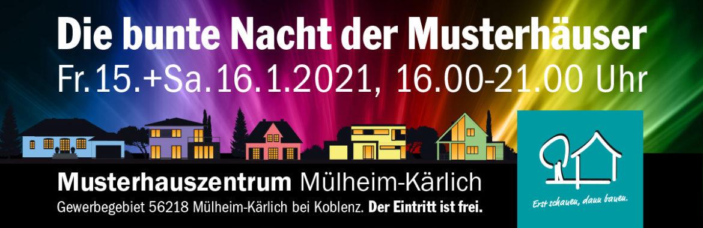 """2. """"Bunte Nacht der Musterhäuser"""" am 15. und 16. Januar 2021"""